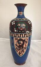 "Antique Meiji Asian Japanese Cloisonné Enamel Dragon Septor Blue Vase EXCLNT 12"""
