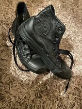 Black Leather Converse Hightops Size 6