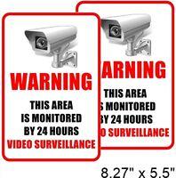 2 Home Security Video Surveillance CCTV Window Door Warning Vinyl Sticker Decal
