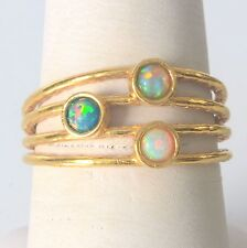 Handmade Vintage 14K Gold Filled Ring Size 7 with White and Green Fire Opal 3mm