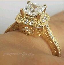 1.65 carat 14k yellow gold princess square man made diamond engagement ring siz7