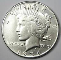 "1934-S Peace Silver Dollar $1 - AU Details - Rare ""S"" Mint Coin!"