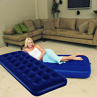 INFLATABLE FLOCKED SINGLE AIR BED CAMPING MATTRESS - BLUE