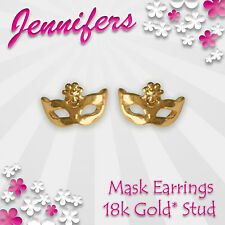 Gold Mask Earrings Stud 18ct Masquerade Ball Small Studs Earring Prom Jewellery