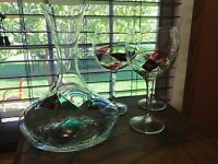 3 EuroGlass Mouthblown Romania 16 Oz Baloon Stained Glass Glasses W/decanter