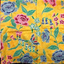 "70s Cotton Fabric Yellow Background Botanical Floral Bird Print 1 yd X 45"" W"
