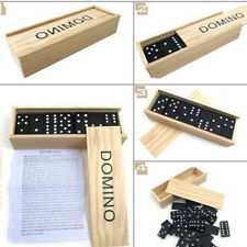 NEW SET OF CLASSIC BLACK DOUBLE SIX DOMINOES WOODEN BOX GAMES TRAVEL CHILDREN