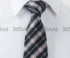 Black Plaid Red Stripes Men Handmade 100% Woven Silk 8 cm nch Wedding Tie
