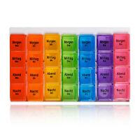 NEU Pillenbox Pillendose Medikamenten box Tabletten dose 7 Tage 4 Fächer pro Tag