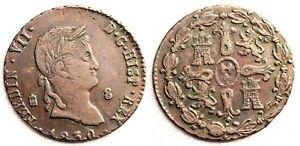 Fernando VII. 8 Maravedis. 1830 Segovia. EBC-/XF- Cobre 10,8 g.