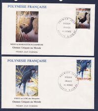 Polynésie   enveloppe  1er jour  faune  oiseaux uniques    1990