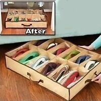 Brown Shoes Storage Organizer Holder Container For Under Bed Closet 12 Pairs