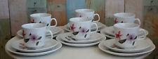 Vintage Johnson of Australia Cup Saucer Plate Trios x 6 *Pretty 'Azalea' Flowers