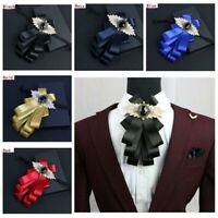 Men Bow Tie Pre Tied Rhinestone Shiny Multi-layer Necktie Wedding Party Show Red