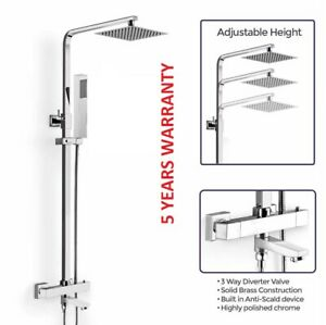 Chrome Cool Touch Thermostatic Shower Mixer Bathroom Exposed Three Valve Set