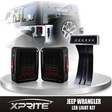 Smoke LED Rear Taillight 3rd Clear Brake Light Combo For 07-17 Jeep Wrangler
