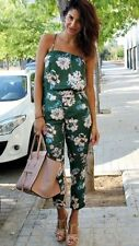 ZARA GREEN FLORAL FLOWER JUMPSUIT PLAYSUIT BLOGGERS RARE SIZE EXTRA SMALL XS NEW