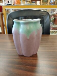 MUNICIE POTTERY MATTE GREEN OVER LILAC VASE - STUNNING