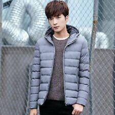 Men Winter Warm Coat Jacket Hooded Casual Overcoat  Gray Size: S