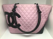 Chanel Cambon Ligne Pink Quilted Leather CC Tote Authenticity Card Included