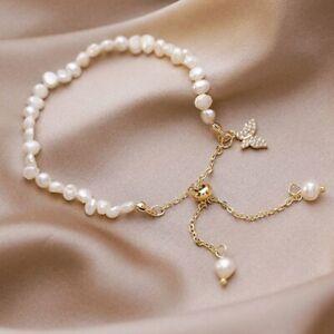 Charm Crystal Butterfly Pearl Beads Bracelet Fashion Women Wedding Jewelry New