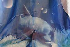 "shower curtain, 1 panel 34 x 72"" nylon/? fabric, dark blues, fish scene"