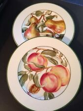 """American Atelier Blossom Breeze Set of Two 8"""" Salad/Snack Plates Peach & Pear"""