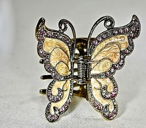 Pink Enameled Butterfly Hair Clip with Swarovski Crystals High Quality Hair Clip