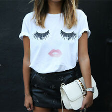 Hot Women Summer Loose T-shirt Lashes Lips Printed White T-Shirts Tops Tees TH
