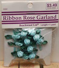 Light Green Ribbon Satin Rose Garland Flower Rosette Sewing Beachwood