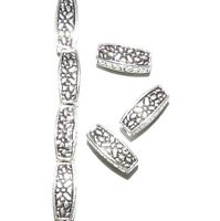 MBL7110 Antiqued Silver 12mm 4-Sided Square Tube with Butterfly Metal Bead 100pc