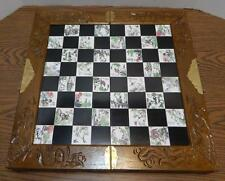 VTG Asian Soapstone & Carved Wood Chess Set Carrying Case & Sculpted Pieces