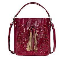 New ListingPatricia Nash Torresina Tooled Leather Bucket Bag Raspberry Nwt