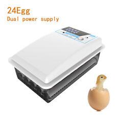 24 Eier Brutmaschine Vollautomatische Geflügel Brüter Brutzubehör mit Temperatur