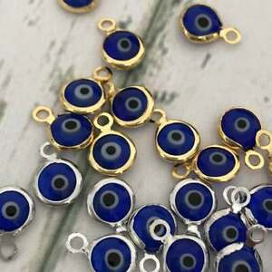 3 Pcs Silver Gold Rose Gold Crystal Turquoise Evil Eye Beads Charms Charm