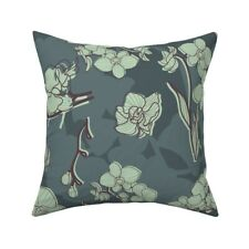 Floral Slate Green Mint Green Throw Pillow Cover w Optional Insert by Roostery