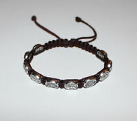 St.Michael/Guardian Angel bracelet on Brown Cord