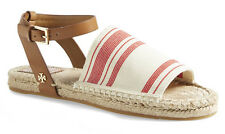 NIB TORY BURCH Elastic Awning Stripe Espadrille Sandals 10.5 Ivory/Red/Royal Tan