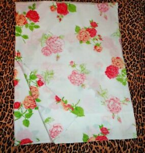 VINTAGE BURLINGTON VINTAGE FLOWERS PINK YELLOW FLORAL TWIN FLAT SHEET 72X104