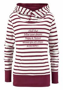 AJC Sweatshirt Damen Pullover Pulli Hoodie Gr. 32/34, 36/38 Weinrot Weiß 848038