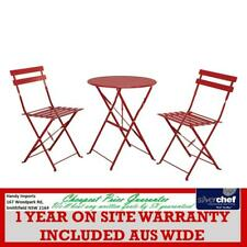 BISTRO 600MM ROUND TABLE AND 2 CHAIR SET, FOLDABLE RED WD-S105CR & WD-S105TR