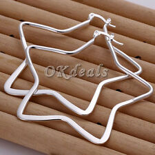 Xmas Gift 925 Silver Plated Ear Studs Women's Large Star Hoop Earrings Jewelry