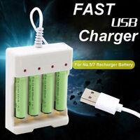 1.2V Universal 4 Slot AA/AAA Rechargeable Battery Charger Adapter USB Plu Jf