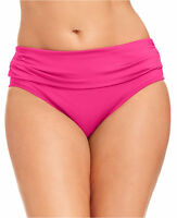 NWT Kenneth Cole Pink PNC Swim Banded Bikini Bottom Plus 1X 2X 3X Swimwear