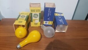 4 GE Light Bulbs 150 watts Bug Lite Yellow & Rough Service in Package