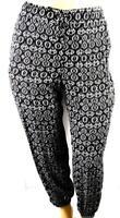 Faded glory black white tribal print drawstring waist jogger pants XXL 20
