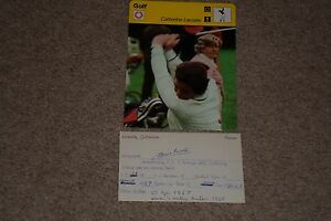 CATHERINE LACOSTE SIGNED AUTO INDEX CARD w/1978 SPORTSCASTER 1967 US OPEN CHAMP