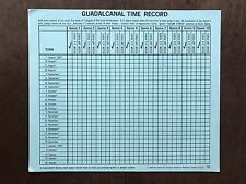 Board Game Parts, Guadalcanal, Time Record Chart, Avalon Hill, 1966