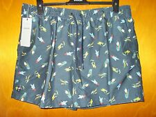 "M&S Quick Dry Elastic Waist Fish Hooks Swim Board Shorts XL W39-41"" NavyMix BNWT"