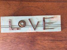 LOVE wood sign salvage junk hardware vintage beadboard steampunk shiplap